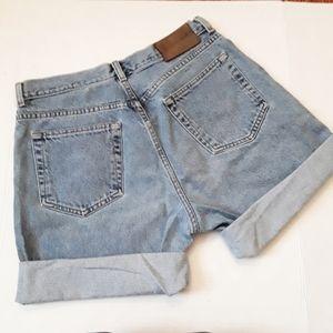 CALVIN KLEIN | high waisted cuffed denim shorts